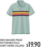 MEN WASHED PIQUE PATTERNED POLO SHIRT