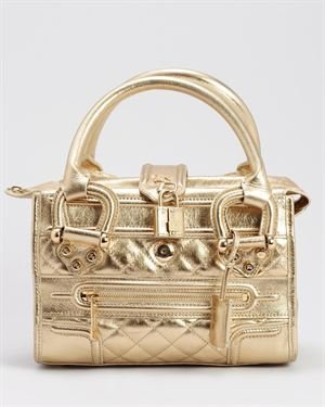 Burberry LU Quilted Metallic Leather Mini Manor Satchel