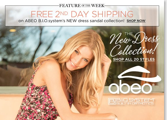 New Feature of the Week! Shop the season's best ABEO B.I.O.system Dress Sandals and enjoy FREE 2nd Day Shipping.* Exclusively available at The Walking Company, B.I.O.system sandals feature a 3-D fit for the ultimate comfort. Find the best selection when you shop now at The Walking Company.