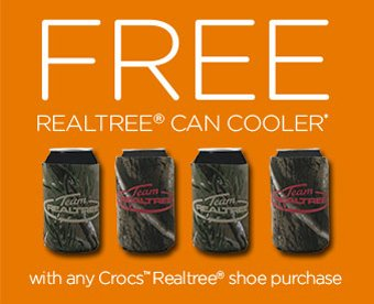 FREE Realtree® Can Cooler* with any crocs™ Realtree® shoe purchase