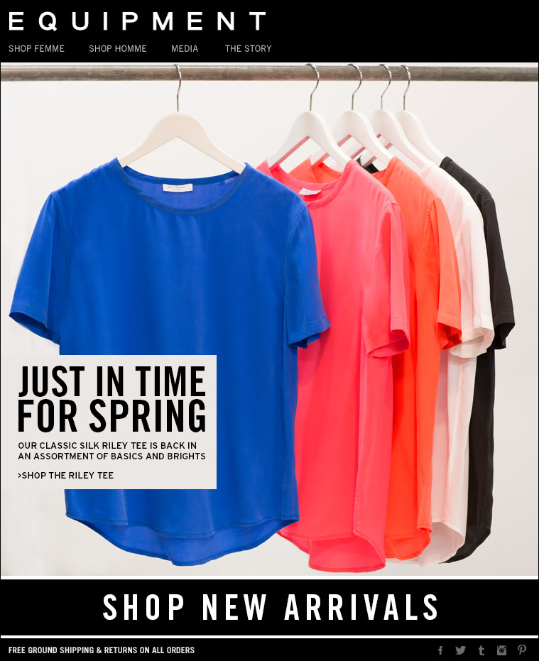 JUST IN TIME FOR SPRING OUR CLASSIC RILEY TEE IS BACK IN AN ASSORTMENT OF BASICS AND BRIGHTS >SHOP THE RILEY TEE