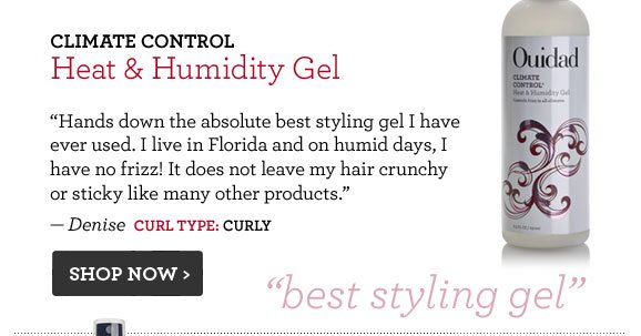 Climate Control Heat & Humidity Gel Hands down the absolute best styling gel I have ever used. I live in Florida and on humid days, I have no frizz! It does not leave my hair crunchy or sticky like many other products. — Denise  Curl Type: Curly Shop Now