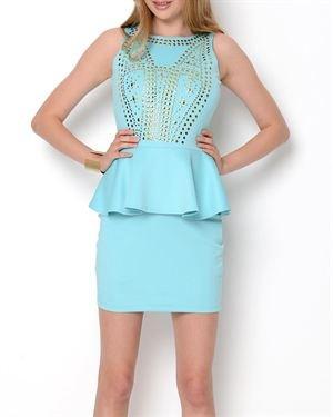 La Cite Studded Peplum Dress