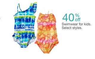 40% off Swimwear for kids. Select styles.