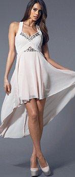 Beaded Cutout Dippy Hem Dress