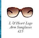 L & Heart Logo Arm Sunglasses
