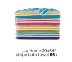 "jcp Home 30x54"" stripe bath towel $6›"