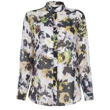 Hazy Pansies Print Silk Shirt