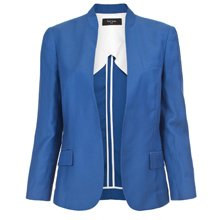 Blue Drapy Drill Buttonless Jacket