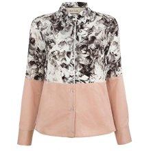 Grey Collage Floral Print Split Silk Shirt