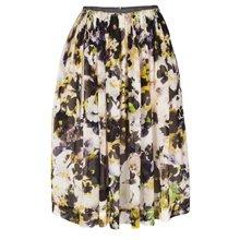 Hazy Pansies Print Pleated Skirt
