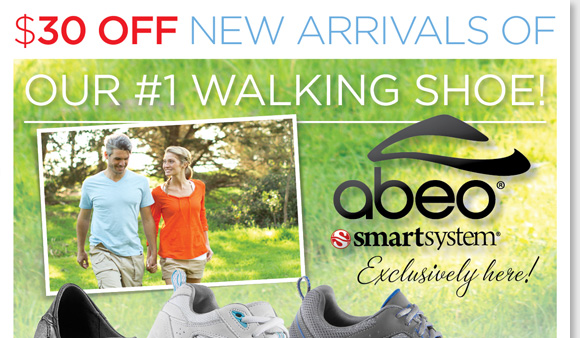 Save $30 on the NEW ABEO SMARTsystem arrivals, our #1 walking shoes! Featuring patent-pending technology developed at Stanford University, ABEO SMARTsystem shoes are designed to reduce knee-stress; and may be your perfect walking shoe if you have  a previous knee injury, are approaching 50 years of age, have knee pain, osteoarthritis, or are above your ideal body weight. Shop now online and in stores at The Walking Company.