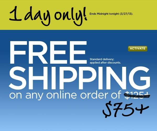 FREE Shipping with $75+ Order