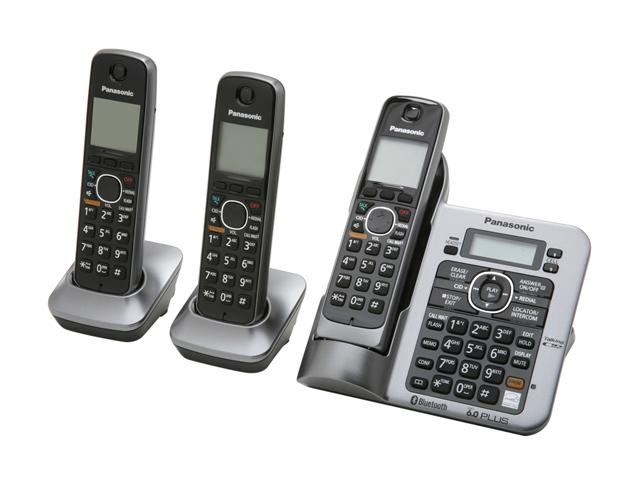 Panasonic KX-TG7643M Link-To-Cell 1.9 GHz Digital DECT 6.0 3X Handsets Cordless Phones Integrated Answering Machine