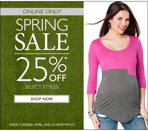 Online Exclusive: 25% Off Select Spring Styles!