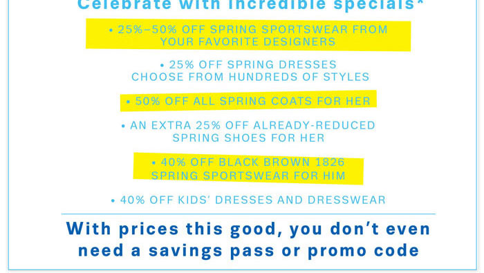 Celebrate with incredible specials