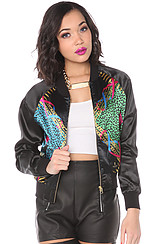 The Regalia Satin Bomber Jacket in Multi Black