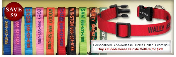 Personalized Side–Release Buckle Collar | From $19 Buy 2 Side-Release Buckle Collars for $29!