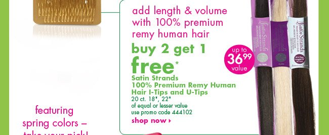 buy 2 get 1 free* Satin Strands® 100% Premium Remy Human Hair I-Tips and U-Tips