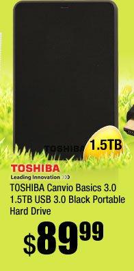 TOSHIBA Canvio Basics 3.0 1.5TB USB 3.0 Black Portable Hard Drive