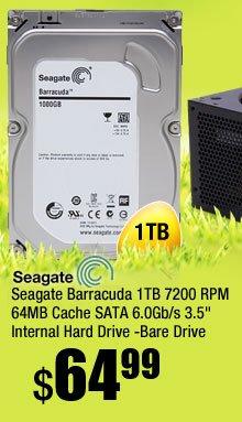 "Seagate Barracuda 1TB 7200 RPM 64MB Cache SATA 6.0Gb/s 3.5"" Internal Hard Drive -Bare Drive"
