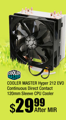 COOLER MASTER Hyper 212 EVO Continuous Direct Contact 120mm Sleeve CPU Cooler