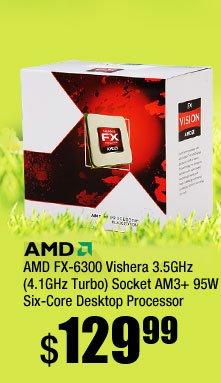 AMD FX-6300 Vishera 3.5GHz (4.1GHz Turbo) Socket AM3+ 95W Six-Core Desktop Processor