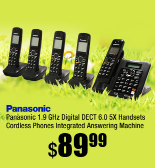 Panasonic 1.9 GHz Digital DECT 6.0 5X Handsets Cordless Phones Integrated Answering Machine