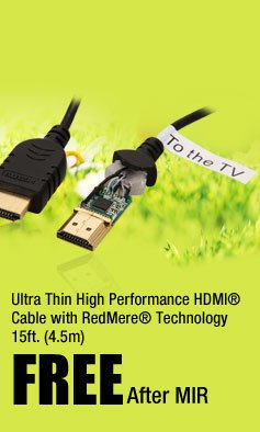 Ultra Thin High Performance HDMI® Cable with RedMere® Technology 15ft. (4.5m)