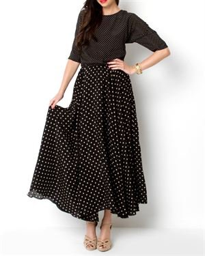 Von Vonni Magnolia Polka Dot Silk Maxi Dress- Made in USA