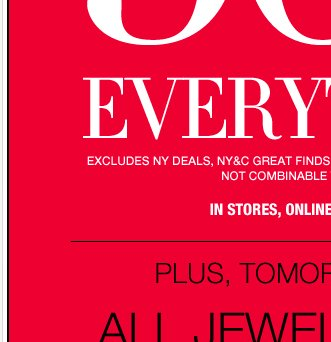 Starting Tomorrow: 50% OFF EVERYTHING!