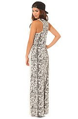 The Endangered Stripe Racer Maxi Dress in Heather Grey Snake