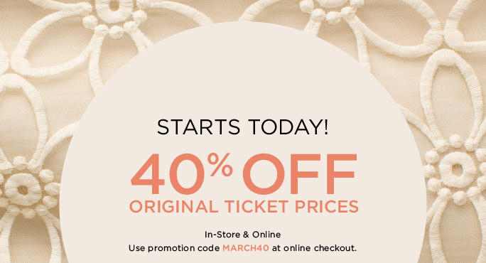 STARTS TODAY! 40% OFF Original Ticket Prices