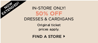50% OFF DRESSES AND CARDIGANS