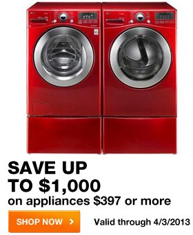 Save up to $1000 on appliances $397 or more SHOP NOW