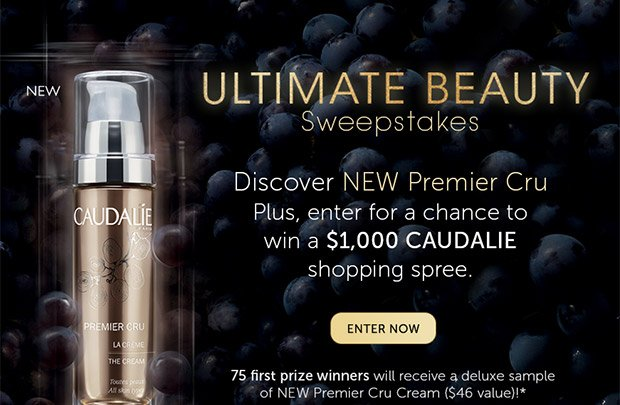 Ultimate Beauty Sweepstakes: Discover NEW Premier Cru | Plus, enter for a chance to win a $1,000 Caudalie shopping spree --> ENTER NOW | 75 winners will receive a Deluxe sample of the NEW Premier Cru Cream ($46 value)!*