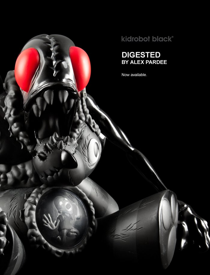 Kidrobot Black.  Digested by Alex Pardee.  Now available.