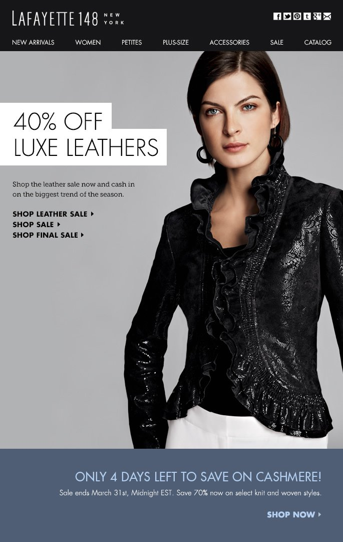Luxe for Less: 40% Off Leathers