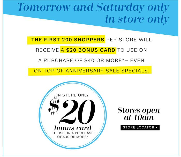 Tomorrow and Saturday only in store only. store locator