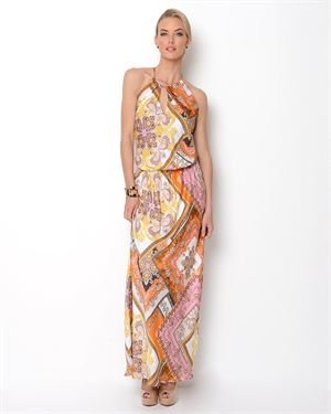 Single Printed Halter Maxi Dress-Made in USA $79