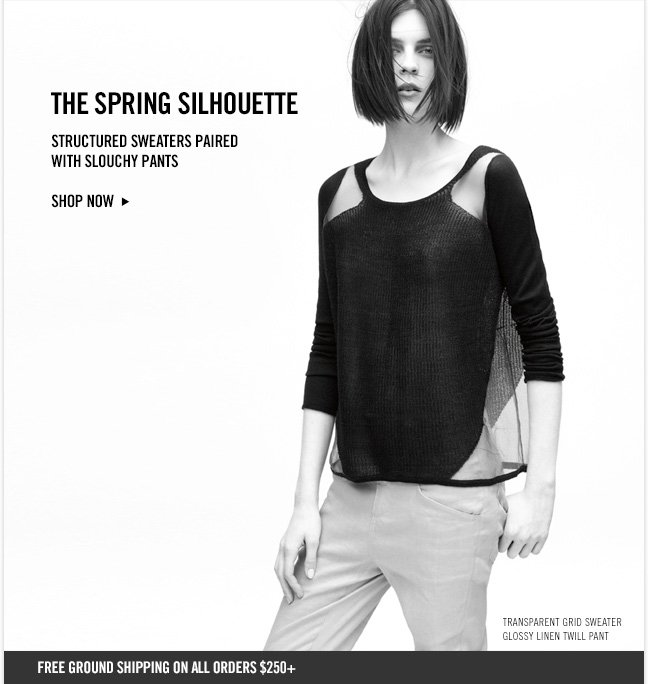 THE SPRING SILHOUETTE - Structured sweaters paired with slouchy pants - Shop now