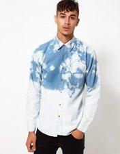 Vintage Denim Shirt with Dip-Dye