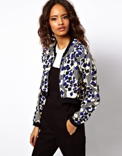 ASOS Cropped Bomber Jacket In Geo Square And Stripe