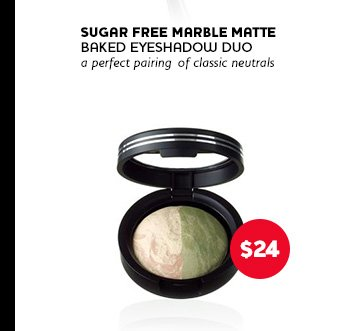 Sugar Free Marble Matte Baked Eyeshadow Duo: a perfect pairing of classic neutrals. Price: $24.00