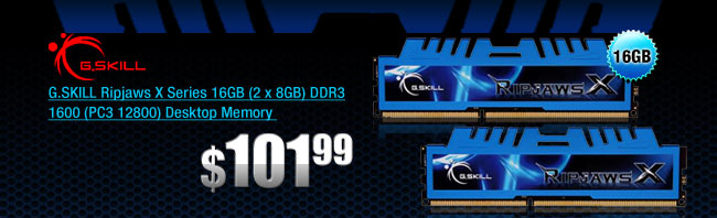G.SKILL Ripjaws X Series 16GB (2 x 8GB) DDR3 1600 (PC3 12800) Desktop Memory