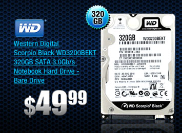 Western Digital Scorpio Black WD3200BEKT 320GB SATA 3.0Gb/s Notebook Hard Drive -Bare Drive