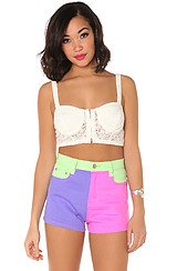 The Neon Block Waisted Shorts
