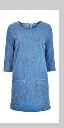 Mid Wash Denim Tunic Dress