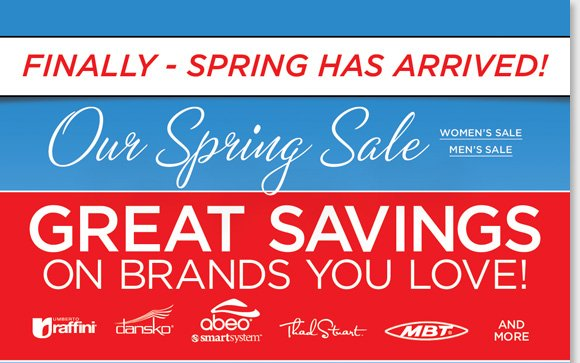 Shop now and save on great styles for women and men during our Spring Sale. Find savings on the brands you love including ABEO SMARTsystem, Umberto Raffini, Dansko, Thad Stuart, MBT and much more! Shop now to find the best selection online and in stores at The Walking Company.