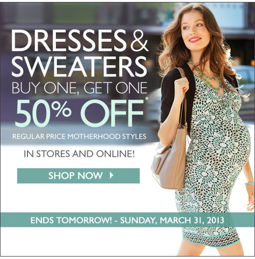 Dresses and Cardigans, Buy One Get One 50% Off - Ends Tomorrow!